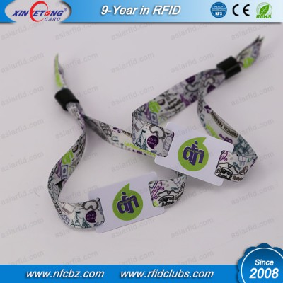 Full Color Printing Ultralight RFID NFC Fabric wristband for Event