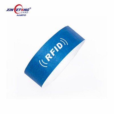 disposable waterproof 13.56MHZ F08 RFID PAPER tyvek Wristband